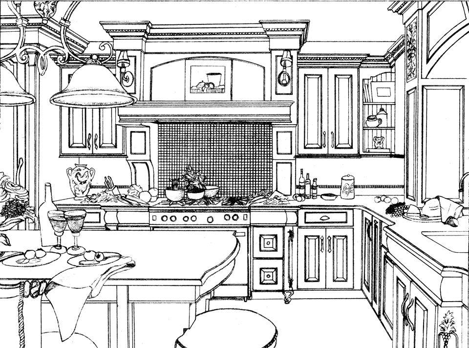 Kitchen Line Art Diagram
